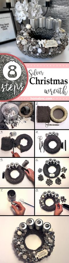 DIY: How To Make Your Own Silver Christmas Table Wreath - homedecorpin Christmas Tree Bulbs, Christmas Door Wreaths, Silver Christmas, Christmas Crafts, Christmas Decorations, Straw Wreath, Silver Paint, Beaded Garland, Diy Weihnachten