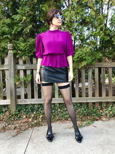 Vintage Jerri Jee Sheer Magenta Blouson Peplum Secretary Blouse with Puff Sleeves Size M Pantyhose Bowling, Cafe Racer Jacket, Men Wearing Skirts, Black Leather Pencil Skirt, Sexy Legs And Heels, Tent Dress, Fashion Tights, Lingerie Dress, Sexy Skirt
