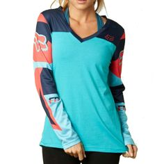 Fox Racing Rize Womens Ladies Casual Long Sleeve Shirt Jersey Top