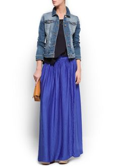 Mango - Blue maxi skirt and denim jacket.