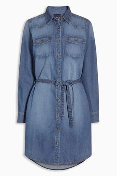 Buy Dark Blue Denim Shirt Dress online today at Next: Australia Blue Denim Shirt, Denim Shirt Dress, Casual Dresses, Casual Outfits, Denim Dresses, Casual Clothes, Denim Fashion, Fashion Outfits, Women's Fashion
