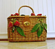 Vintage Wicker Woven Purse With Felt and Velvet Strawberries.