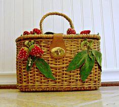 Vintage Wicker Woven Purse With Felt and Velvet Strawberries. $62.00, via Etsy.