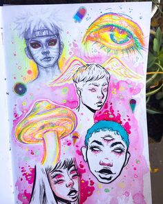 art sketchbook Experimenting with colors. Trippy Drawings, Art Drawings, Weird Drawings, Boca Anime, Arte Grunge, Posca Art, Arte Sketchbook, Rainbow Art, Neon Rainbow