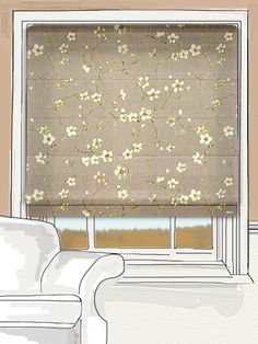 Gardenia Mink by tuiss ® Roller Blinds, Roman Shades, Mink, Curtains, Fabric, Floral, Painted Chairs, Roman Blinds, Window Dressings