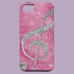 Beautiful glittery effect silver treble clef iPhone 5 cases