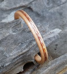 bent wood maple ring with copper inlay by perkinswoodwork on Etsy, $45.00