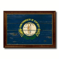 Kentucky State Canvas Flag Custom Frame Rustic Home Decor Interior Art Decoration Distressed Barnwood Style American Handmade Wall Design by AllChalkboard on Etsy https://www.etsy.com/listing/214740133/kentucky-state-canvas-flag-custom-frame
