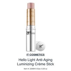 It cosmetics hello light luminizer✨ Gem of a product, so multipurpose I would be lost without it! Easy contour & brightening, I use it as lip color for a GORG sheen & as eyeshadow too, highlighting is perfect-easy to blend in (not necessary), this makes you look awake, sculpted, brightened, SERIOUS anti aging. Never settles in lines or creases either. NEW/UNUSED/FULL SIZE new w/out box NO! PP/NO! TRADES/other sites❌ price FIRM unless bundling NO! offers please❤️ YES! free gift w/purchase…