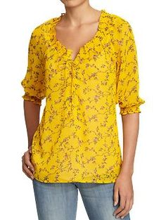 Women's Printed Chiffon String-Tie Blouses | Old Navy