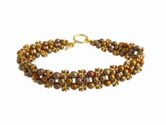 Metallic Beaded Bracelet Dark Gold Jewellery Seed Bead