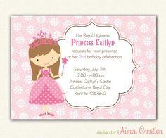 Girl Princess Birthday Invitations PRINTABLE (You Pick Princess) Pink / Purple / Blue / Green / Yellow. $12.00, via Etsy.