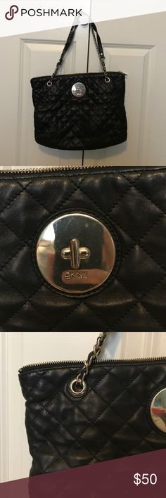 DKNY Black Quilted Black Leather Purse Genuine leather purse that adds a sophisticated touch to your look. Great condition. DKNY Bags Shoulder Bags