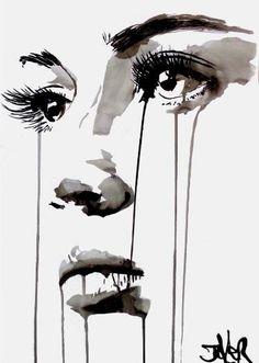 Face By Loui Jover, Watercolor Painting Art Sketches, Art Drawings, Drawing Faces, Human Art, Portrait Art, Painting & Drawing, Painting Tips, Watercolor Paintings, Sad Paintings