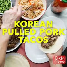 Korean Pulled Pork Tacos Recipe I created this surprising pulled pork recipe to replicate our favorite food truck tacos at home. They're a little sweet, a little spicy and totally delicious any time of year. Slow Cooker Recipes, Crockpot Recipes, Cooking Recipes, Healthy Recipes, Chicken Recipes, Cooking Ideas, Pulled Pork Tacos, Pulled Pork Recipes, Snacks