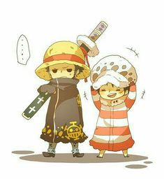 Law, Luffy, cute, text, funny, hats, switch, outfits, chibi; One Piece