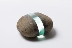 Beautiful high polished glass layer inside of stone