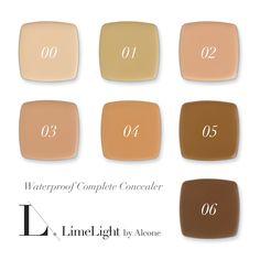 Waterproof. Sweat Proof. 50% pigmentation. Waterproof Complete Concealer, Limelight by Alcone.