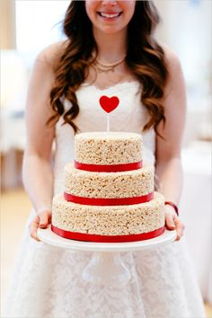 Red and teal wedding with playful details. Captured By: Joel Bedford Photography Food Wedding Favors, Wedding Sweets, Elegant Wedding Cakes, Wedding Ideas, Wedding Cake Cookies, Wedding Cakes With Cupcakes, Rice Krispie Cakes, Rice Krispies, Wedding Cake Alternatives