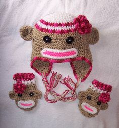 Sock Monkey Crocheted Hat:  This is NOT a pattern, I am pinning for inspiration.  I fail to see why these things have become so popular.  They , frankly, scare the stuffin' out of me, and any kid caught smiling with one of these on their head surely, has NOT looked into the mirror.  Anyhoo, I shall attempt to recreate this one, my way,and report my findings.