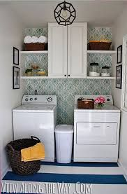 DIY laundry room update with stenciled walls and DIY painted vinyl floors via Vi. DIY laundry room update with stenciled walls and DIY painted vinyl floors via View Along the Way Small Laundry Rooms, Laundry Room Design, Laundry In Bathroom, Basement Laundry, Laundry Area, Bathroom Storage, Decorate Laundry Rooms, Garage Laundry, Laundry Powder