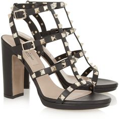 Valentino Rockstud leather sandals (55.350 RUB) ❤ liked on Polyvore featuring shoes, sandals, heels, buckle sandals, leather platform sandals, ankle strap heel sandals, ankle strap high heel sandals and black sandals