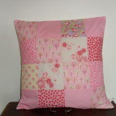 Housse de coussin patchwork, girly, romantique, rose