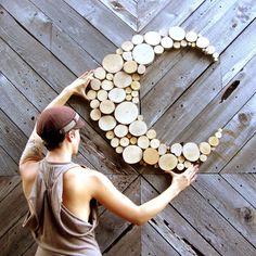 Fait sur commande pour commander sculpture abstraite lune bois sculpture de tranche arbre rustique bois sticker mural qui bois tranches de cercle art