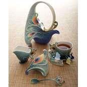 """Luminescence Peacock"" Tea Set"