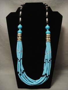 VINTAGE NAVAHO TOMMY SINGER TURQUOISE NECKLACE HAVING THE MOST STRANDS