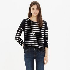 Cool and refined, this drapey tee is pieced with bold yarn-dyed stripes.  <ul><li>Slightly drapey, easy fit.</li><li>Cotton/viscose/poly.</li><li>Machine wash.</li><li>Import.</li></ul>