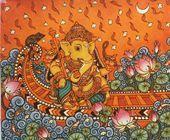Radha Krishna painting done in distinct Kerala Mural style. Unusual painting where Radha holds the flute of Krishna !!