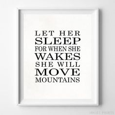 Let Her Sleep Typography Print. Prices from $9.95. Available at InkistPrints.com - #typography #typographic #officedecor #livingroomdecor #homedecor #lethersleep
