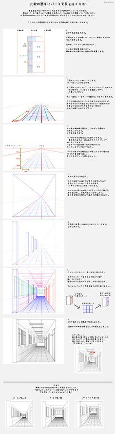 「比較的簡単にパース背景を描く方法」/「公真」の漫画 [pixiv]