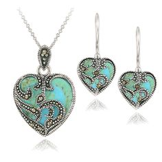 Glitzy Rocks Sterling Silver Marcasite and Reconstituted Turquoise Heart Necklace and Earrings Set (Brown Marcasite/ Blue Turquoise Set), White (paisley)
