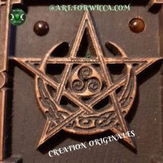 PENTACLE WICCA EN BOIS - ArtforWicca Pentacle, Triquetra, Creations, Personalized Items, Symbols, Home Made, Bead