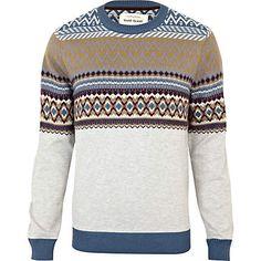 Blue stripe pattern jumper - jumpers - knitwear - men