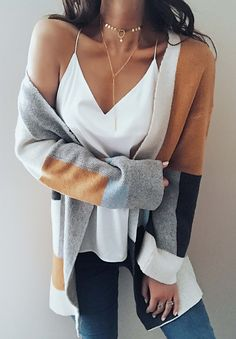 ONLY $32.99! Fashion Knit Multi color Long Sleeve Cardigan fall fashion 2017 trend warm cheap online store