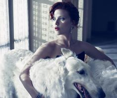 Scarlett Johansson by Mario Sorrenti with a beautiful white Borzoi