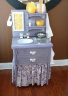 Nightstand turned into a play kitchen.