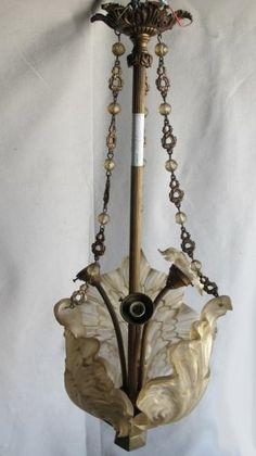 Antique French Art Nouveau bronze & glass chandelier
