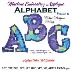 Applique Alphabet Machine Embroidery Designs by EdiesDesigns