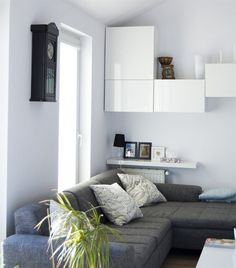 Use BESTÅ cabinets as a fun wall feature, and store your things inside and on top   Spotted in Mateusz' apartment in Poland