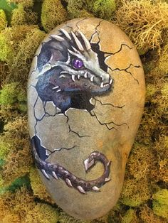 This hand painted rock of a baby dragon coming out of its egg is one of a kind. Perfect for ponds, gardens, fairy gardens, or just as a piece of art in your home.