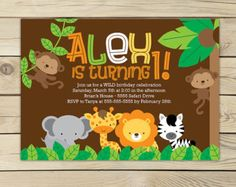 Items similar to Safari Jungle Birthday Invitation Printable - Jungle Animals - Jungle Party - Safari Invitation - Safari Birthday Invitation - Lion Birthday on Etsy Animal Themed Birthday Party, Lion Birthday, Jungle Theme Birthday, 1st Boy Birthday, 1st Birthday Parties, Birthday Diy, Birthday Photos, Birthday Ideas, Safari Party
