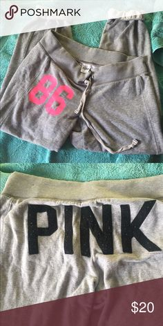 Victoria's Secret pink sweatpants medium grey 🎀💕 Have a lot of pilling and lint on back graphics other then that good condition PINK Victoria's Secret Pants Track Pants & Joggers