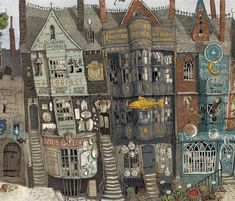 Diagon Alley from the new 'Philosopher's Stone' illustrated edition — Harry Potter Fan Zone Harry Potter Jim Kay, Harry Potter Website, Harry Potter Diagon Alley, Harry Potter Gifts, Harry Potter Fan Art, Harry Potter Universal, Harry Potter World, Harry Potter Memes, Hery Potter