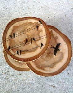 Graphic Bird Wood Coasters
