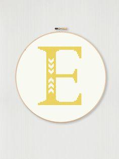 Cross stitch letter E pattern with chevron by LittleHouseBliss