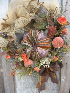 HOMESPUN HARVEST fall wreath with leaves by faucettandflame, $54.99
